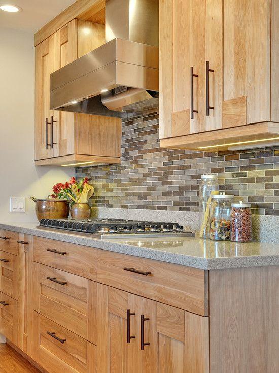 Contemporary Kitchen Birch Cabinet Design, Pictures, Remodel, Decor and Ideas. Stone backsplasf