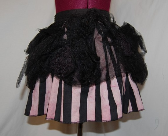 striped skirt with tulle overlay