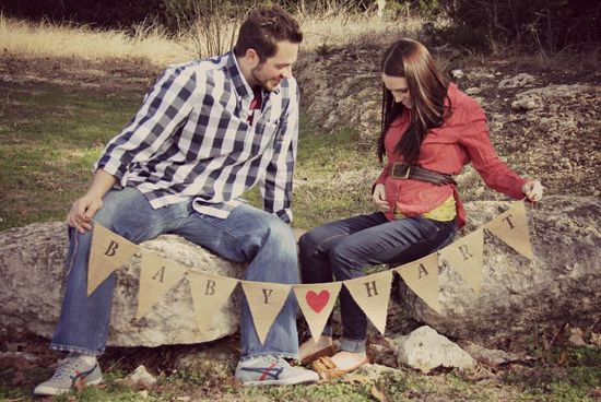 Baby  Love  Pregnancy Announcement Banner by OopsieDaisyDecor