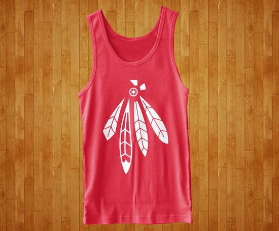 Chicago Hawks Feathers Star Cool Hockey Summer Tank by KustomTees