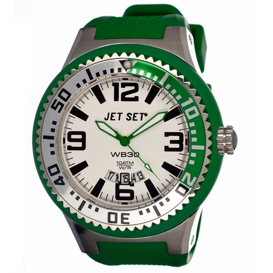 Mens Watch Green Silver