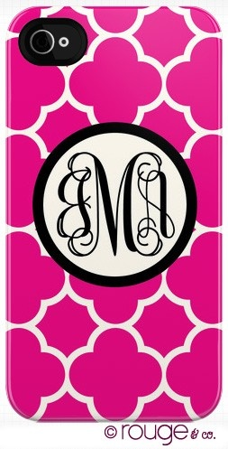 Snap-on plastic designer monogrammed cell phone cover.