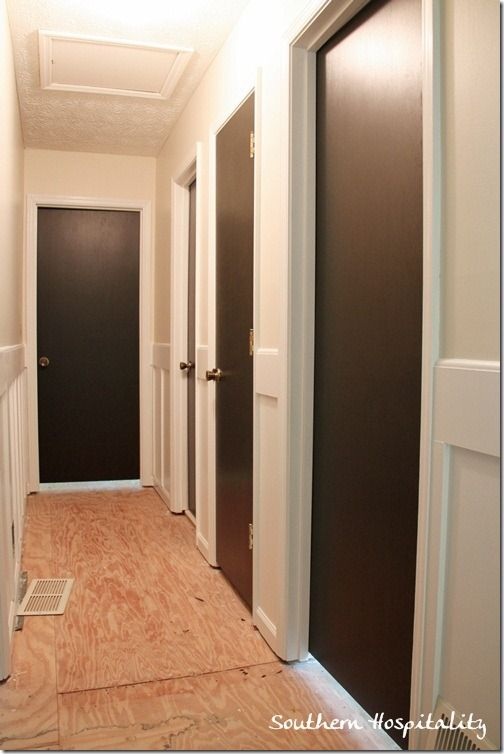 Doors are deep dark brown/black.  Not quite as stark as jet black and it will ha