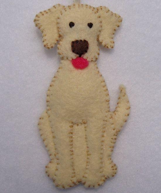 "3"" Felt Dog Ornament. $20.00, via Etsy."