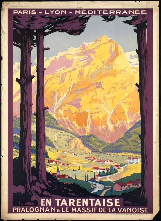 Alps vintage travel poster