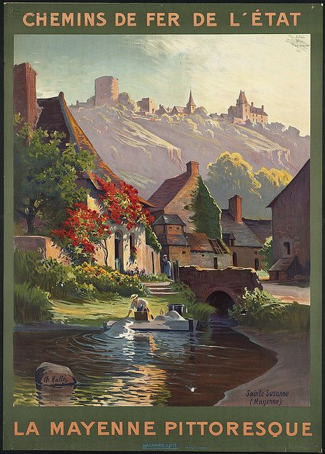 La Mayenne pittoresque (1910-1959) Travel poster of Chemins de Fer de l'Etat (Western France)