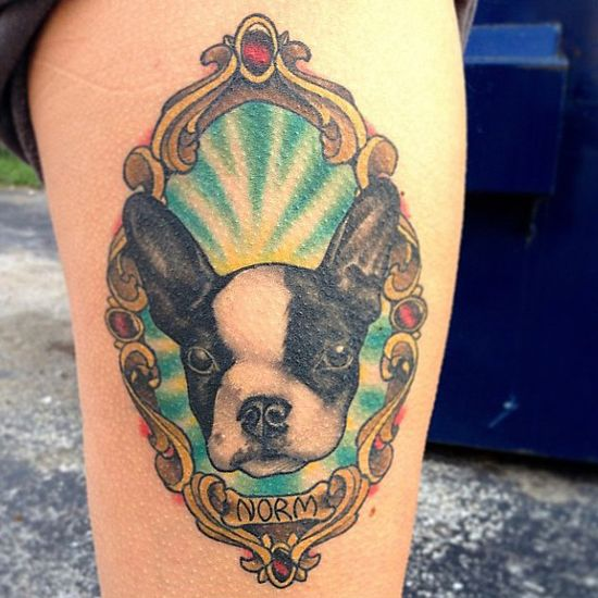 A stellar pup who shines bright like a diamond - See all 14 Awesomely Beautiful Pet TributeTattoos  @ www.buzzfeed.com/...  #dog, #pet, #cute, #ilovemydog, #tattoo, #tattoos, #inked, #love, #terrier, #bostonterrier