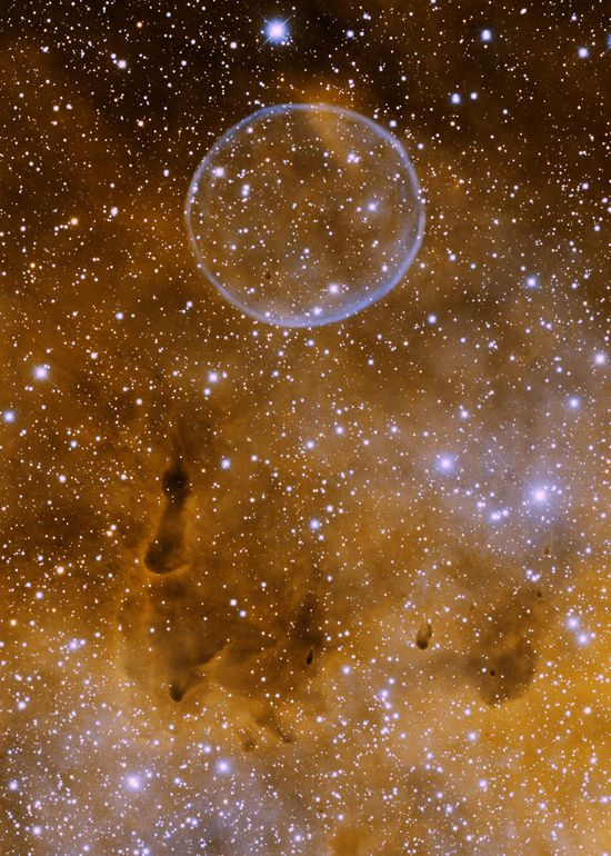 "NGC 7635, also called the Bubble Nebula, Sharpless 162, or Caldwell 11, is a H II region emission nebula in the constellation Cassiopeia. It lies close to the direction of the open cluster Messier 52. The ""bubble"" is created by the stellar wind from a massive hot, magnitude young central star."