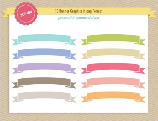 Ribbon Banner Clip Art - Luvly Marketplace