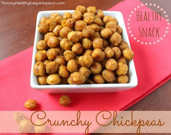 Crunchy Chickpeas - the perfect healthy snack! Full of protein and fiber, this snack will satisfy your crunch craving! ;) {Yummy. Healthy. Easy.} #snack # healthy