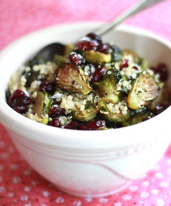 Roasted Brussels Sprouts w/ Quinoa, Cranberries + Miso