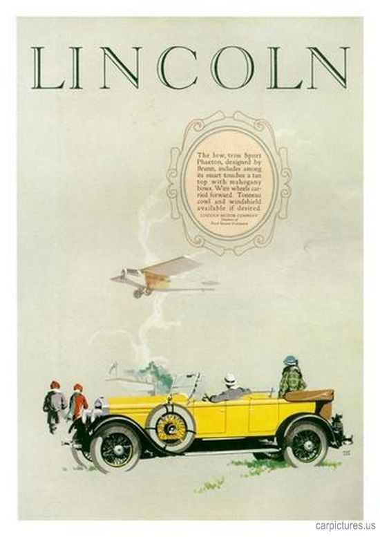 1926 Lincoln Sport Phaeton Ad. More Car Pictures:  carpictures.us