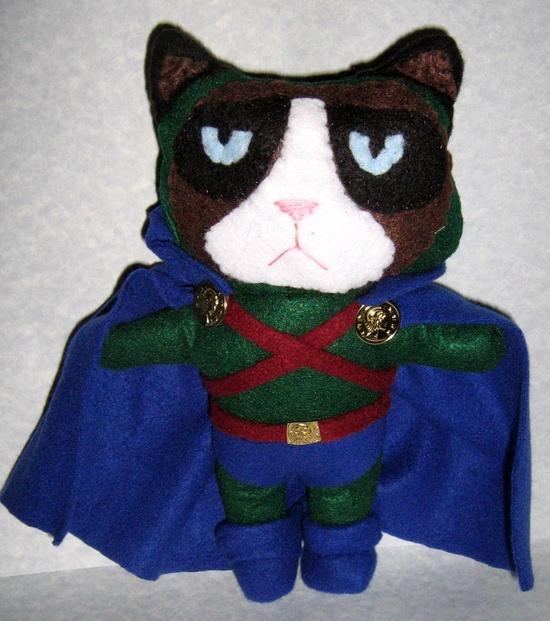 Grumpy Cat Martian Manhunter Handmade Plushie
