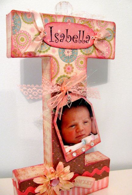 "Mod Podge, scrapbook papers, pretty embellishments, and a large paper mache letter to create this Letter ""I"" as a baby gift."