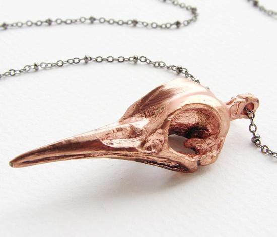 Bird Skull Necklace in Rose Gold