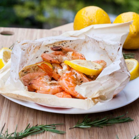 New Orleans Shrimp in Papillote by avocadopesto: 310 calories/serving #Shrimp #Papillote #Healthy #Easy
