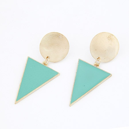 Gold Green Triangle Statement Stud Earrings