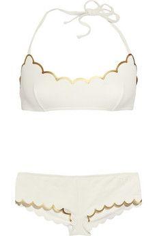 scalloped white + gold bikini