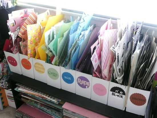 Color coded scrap paper organization! #rainbow #craft spaces #scrapbooking #scrapbook paper