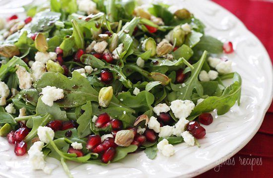 Arugula with Pomegranates, Blue Cheese and Pistachios by skinnytaste #Salad #Pomegranate #Blue_Cheese
