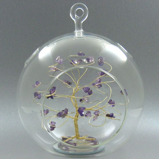 Glass Christmas Ornament Birthstone Ornament  Amethyst by byapryl, $48.00