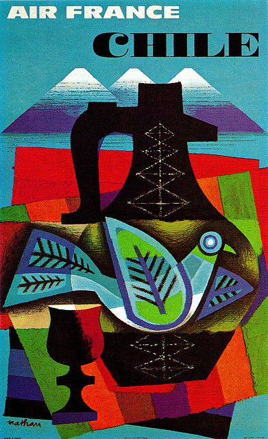 Jacques Nathan-Garamond Illustration   Air France travel to Chile poster. From Graphis Annual 63/64