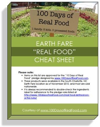 "Supermarket Real Food ""Cheat Sheet"""