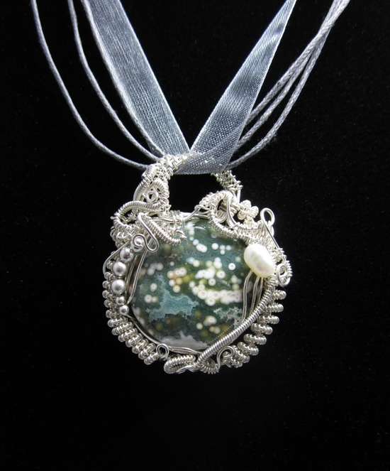 Ocean Jasper Wire Wrap OOAK Pendant is Sterling Silver, Intricate Wire Wrap. $110.00, via Etsy.