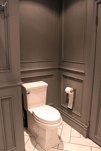 grey wainscoting white tile with grey grout