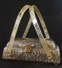 Vintage RARE Llewellyn Goldtone Confetti Lucite Purse