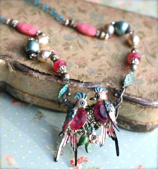Love Birds-Necklace Upcycled Vintage Victorian