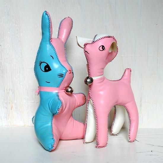 Vintage Deer and Rabbit Vinyl Stuffed Animals