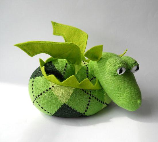 dragon mythical sock animal stuffed animal by TreacherCreatures, $25.00