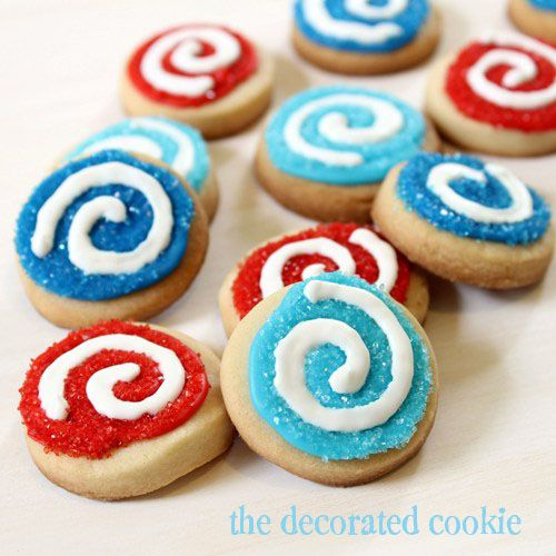Swirl Cookies for 4th of July (Or change colors for any holiday)