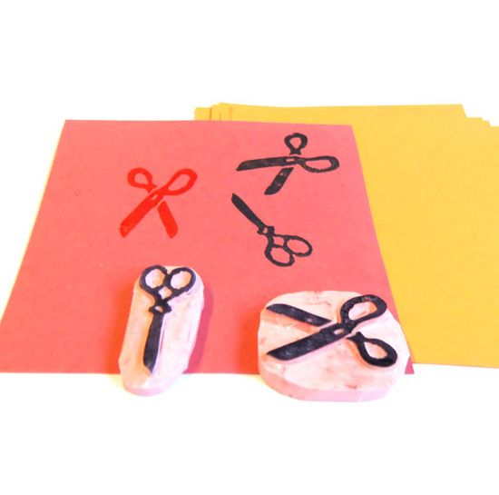 Scissors rubber stamp hand carved stamp set of 2 by StampCreator, $9.00