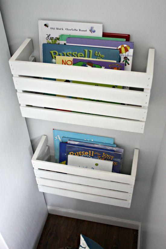 crate cut in half for book storage