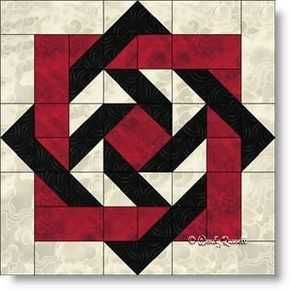 """Quilt block """"Slip Knot"""" with squares, rectangles, half square triangles and flying goose f"""
