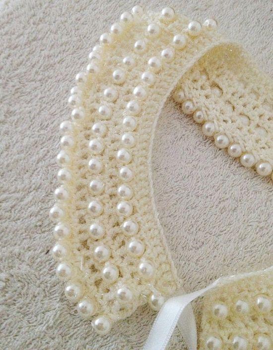 Wedding  ivory crochet collar with bead peter pan by NesrinArt, $35.00
