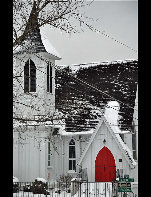 White church with a red door.. love this