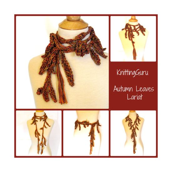 Autumn Leaves Crochet Lariat  by KnittingGuru.