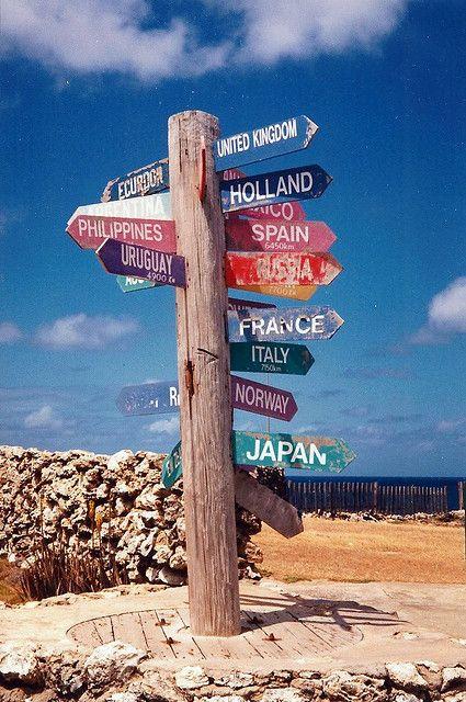 Signpost at North Point, Barbados,