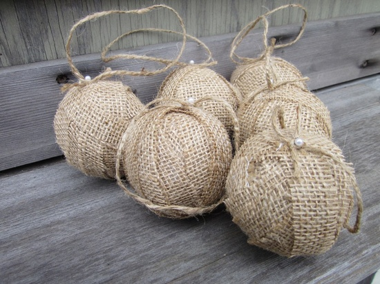 Rustic Christmas Burlap Ball Ornament by SheepStreetDesign