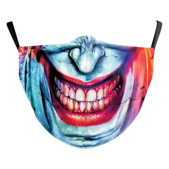 Maseczka Streetwear poliestrowa z nadrukiem Joker do codziennego, wielokrotnego użytku. Regulacja gumowa pozwala na dokładniejsze dopasowanie maseczki do twarzy.