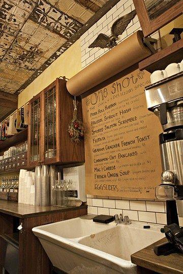 Kraft paper menu: change it daily. Cool cafe idea!