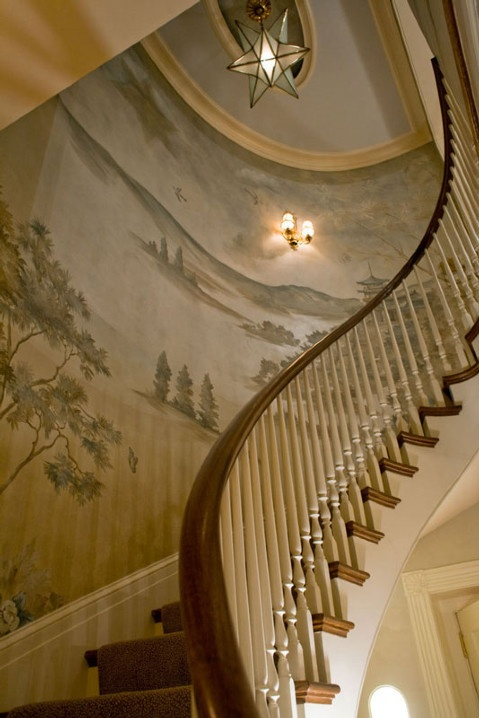Mural on three story staircase, Interior Design Gerald Pomeroy