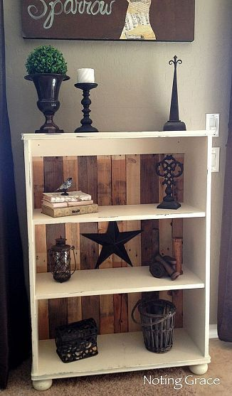 To repurpose old pressed wood bookcases: take the flimsy back off and replace with stained 2x4s or 1x4s. Same look as this photo.