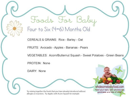 Baby food age charts and homemade baby food recipes.