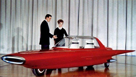 Ford Gyron Concept Car, 1961... The Ford Gyron was a two-wheeled gyrocar first shown in 1961 as a concept car. One wheel was at the front and the other at the rear like a motorcycle and the car was stabilized by gyroscopes. When the vehicle was stationary, two small legs appeared from the sides to support it.