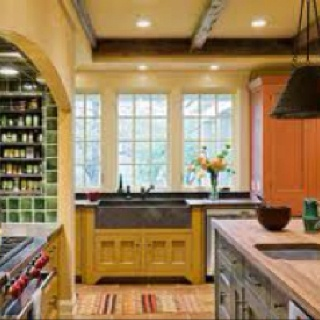 Yellow farmhouse kitchen