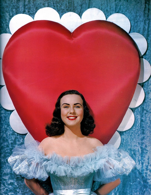 Deana Durbin looking pretty as picture in a pale blue, flouncy shouldered gown for Valentine's Day. #vintage #actress #Valentines #celebrities #Hollywood #Deana_Durbin #heart